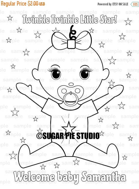 Baby shower Party Favor childrens kids coloring page activity PDF or Jpeg file