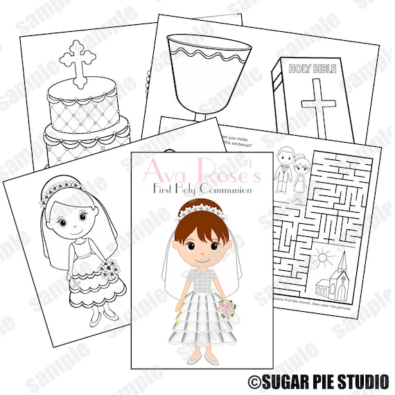 Communion Favor Kids coloring activity book PDF or JPEG TEMPLATE Printable Personalized Custom
