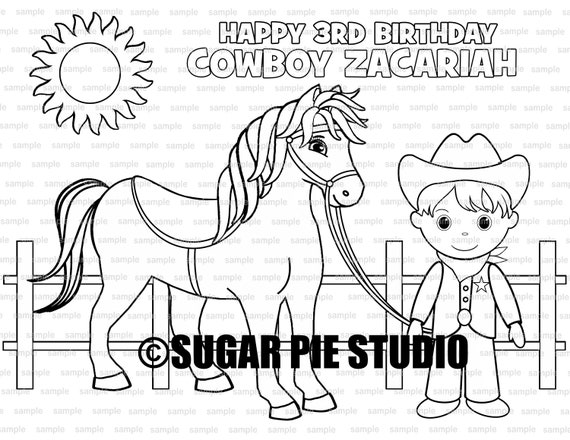 Cowgirl Cowboy coloring page Birthday Party Favor childrens kids coloring page book activity PDF or JPEG file