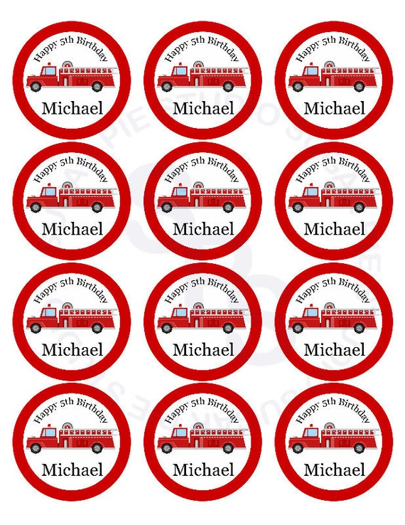 Fire engine truck Mix and Match 2 inch circle Cupcake toppers or tags Printable Personalized Digital File DIY