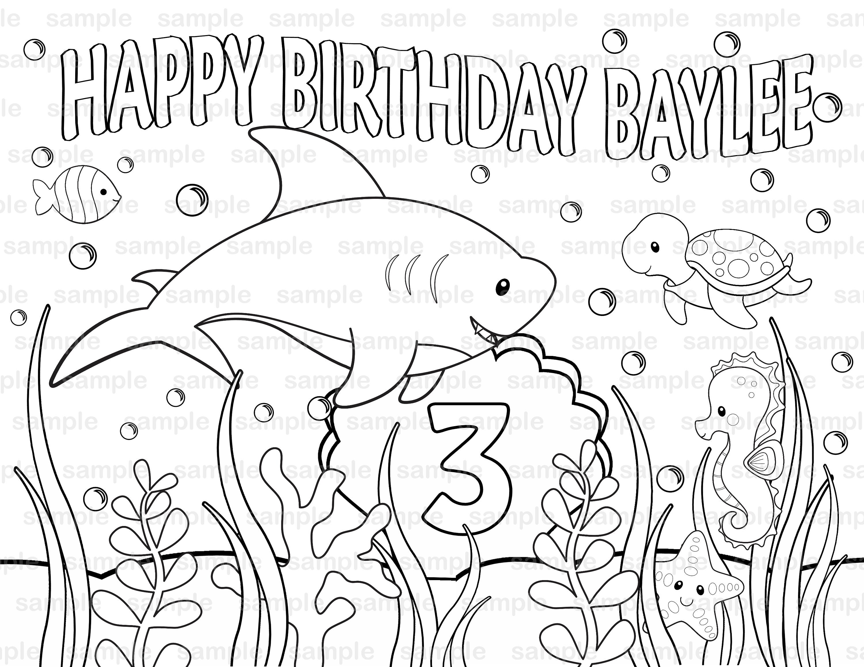 personalized printable shark under the sea birthday party