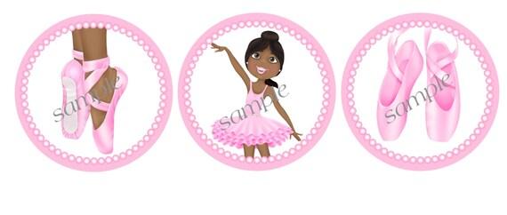 African American Ballerina Dancer  2 inch Printable Favor tags / cupcake toppers Digital File