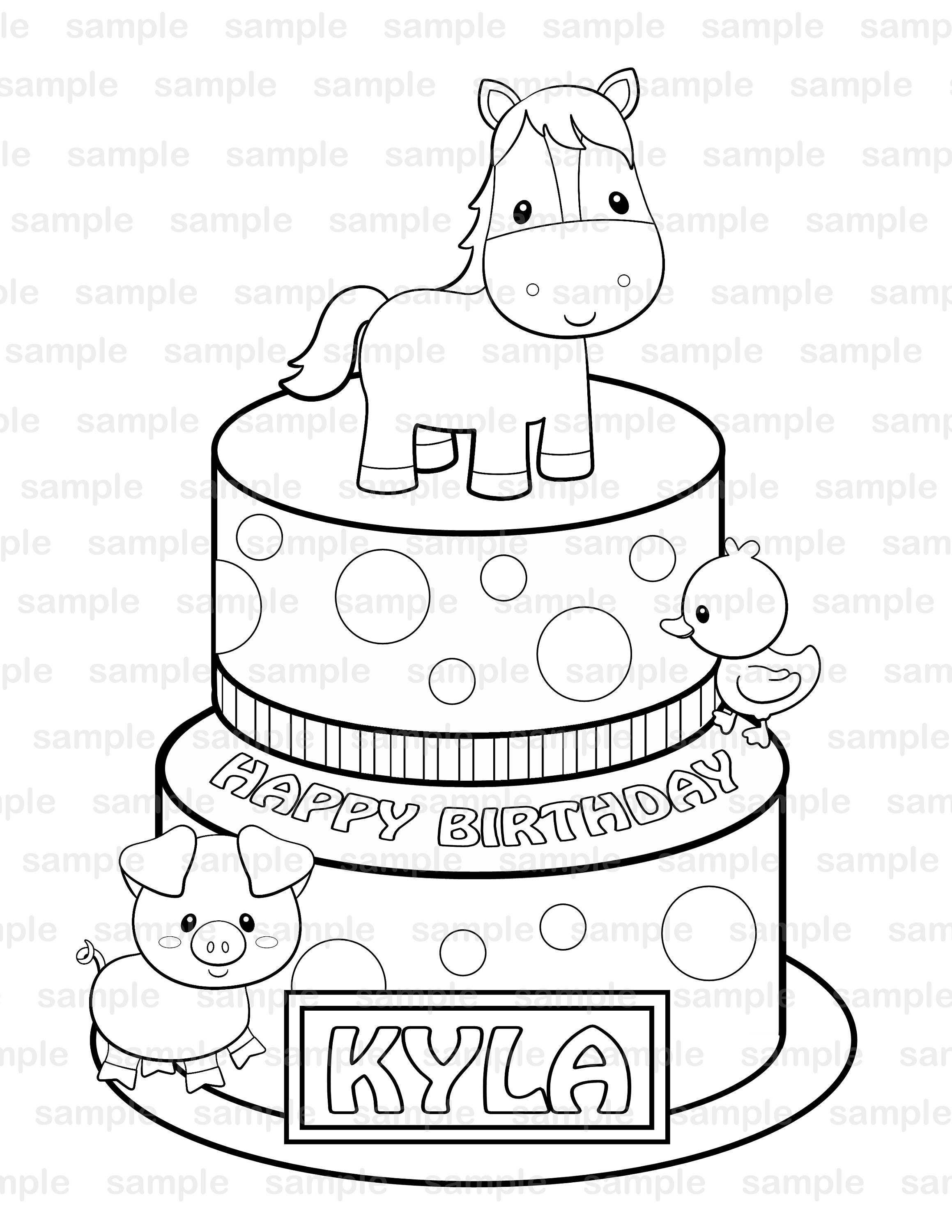 personalized birthday coloring pages | Personalized Printable Farm Birthday Party Favor childrens ...