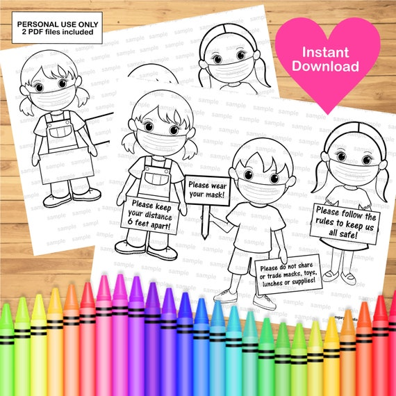 Mask safety coloring page activity Printable instant download