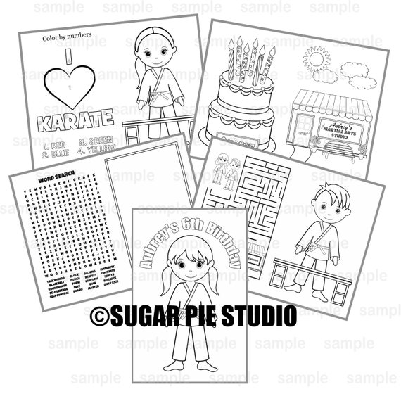Karate Birthday coloring book Party Favor Kids coloring activity book PDF or JPEG TEMPLATE