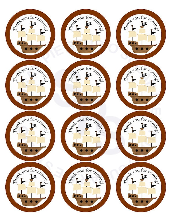 Boy Pirates Mix and Match 2 inch circle Cupcake toppers or tags Printable Personalized Digital File DIY