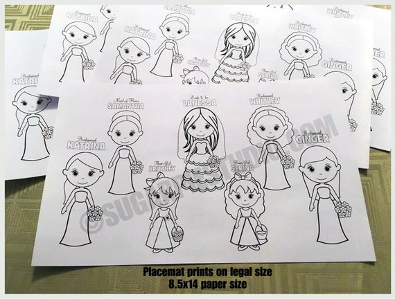 Bridal Shower placemat Childrens coloring page activity PDF or JPEG file