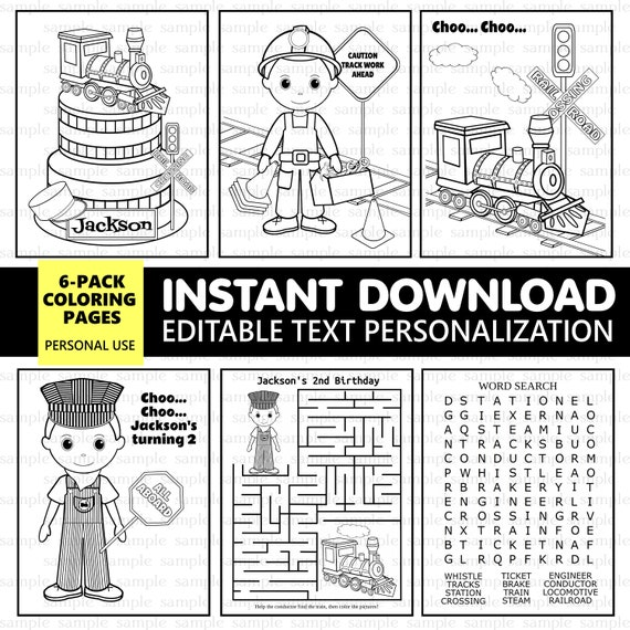 TRAIN TRANSPORTATION coloring pages 6 pack - EDITABLE - Instant Download