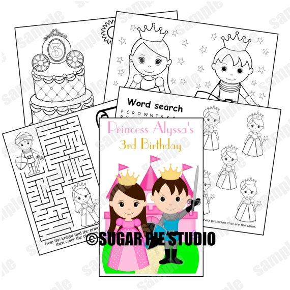 Printable Personalized Custom Knight and  Princess Favor Kids coloring activity book PDF or JPEG TEMPLATE