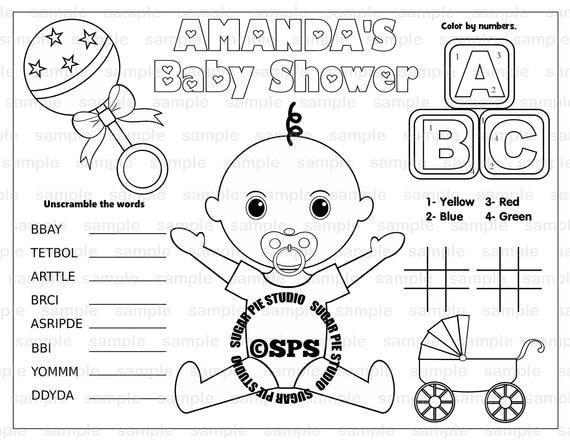 Kleurplaten Baby Shower.Babydouche Pagina Placemat 8 5x11 Childrens Kleurplaten Kleurplaten Pagina Activiteit Pdf Of Jpeg Bestand