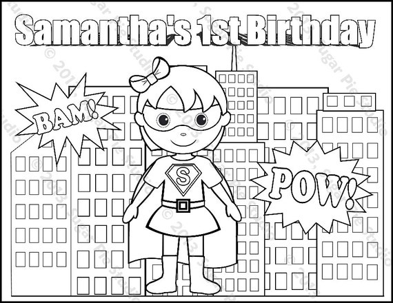 Personalized Printable Superhero Girl Boy Birthday Party Favor Childrens Kids Coloring Page Book Activity Pdf Or Jpeg File