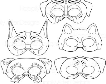 Working Dog Breed Printable Coloring Masks Boxer Mask Great Dane Husky Rottweiler Schnauzer Puppy