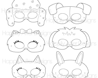 Pets Printable Coloring Masks Cat Mask Dog Character Bunny Poodle Pomeranian Terrier