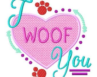 Puppy Love Applique Embroidery Design Dog Applique Valentine Etsy