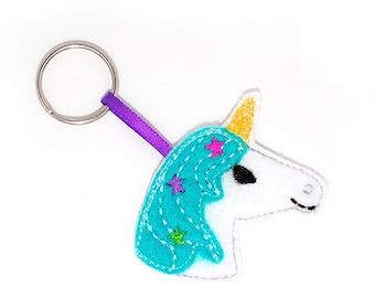 Unicorn Keychain Embroidery Design, unicorn, horse, keychain embroidery, machine embroidery, ITH, in the hoop, unicorn embroidery, magical