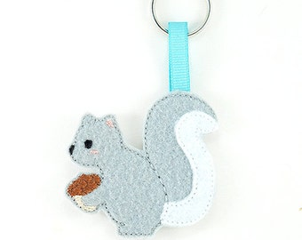 Squirrel Keychain Embroidery Design, squirrel keychain,squirrel embroidery, keychain embroidery, machine embroidery, ITH, in the hoop