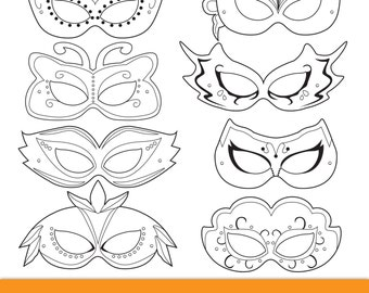 image about Printable Masquerade Masks Template named Masquerade Printable Masks masquerade mask printable Etsy