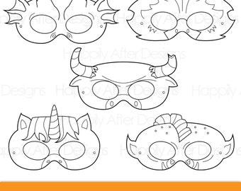 Mythical Creatures Printable Coloring Masks Dragon Mask Unicorn Minotaur Troll Gryphon Creature Costume Halloween Animal Print