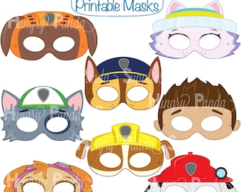 Paws Printable Character Party Masks Dog Cartoon Hero Dogs Dalmatian Mask Puppy Kids