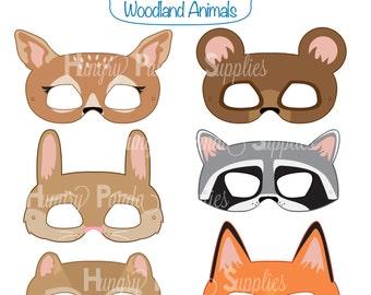 Woodland Forest Animals Printable Masks Animal Mask Bear Fox Raccoon Bunny Deer Chipmunk Kids