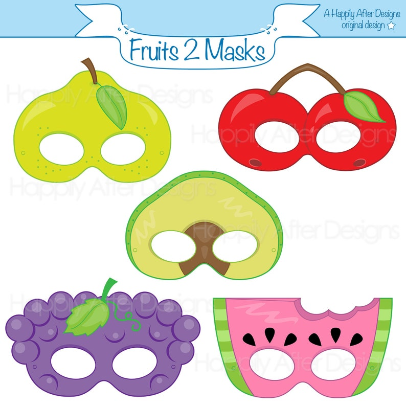 image regarding Printable Fruit Pictures identified as Culmination 2 Printable Masks, avocado mask, cherry mask, grapes, pear, watermelon, fruit dress mask, culmination, meals gown mask, printable mask