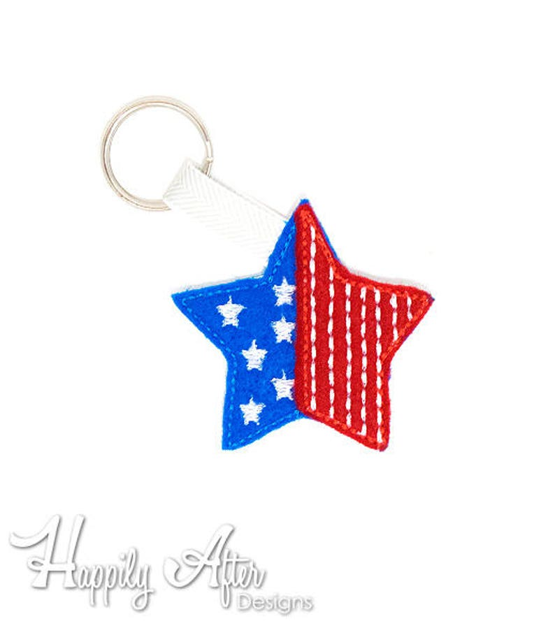 Patriotic Star Keychain Embroidery Design, star, usa, keychain embroidery,  machine embroidery, ITH, in the hoop, usa embroidery, stripes