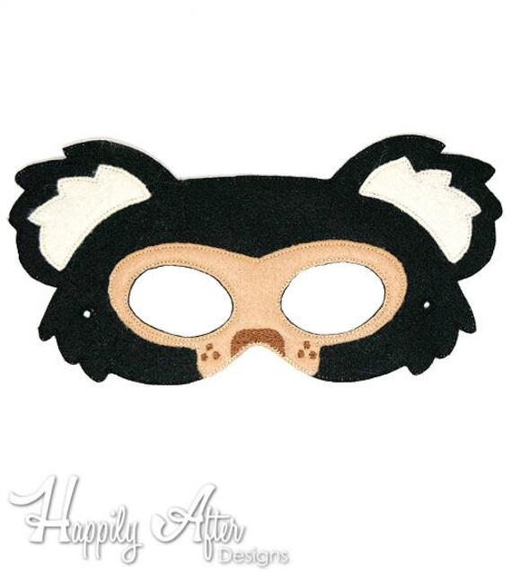 Oso perezoso bordado diseño de máscara máscara de oso   Etsy
