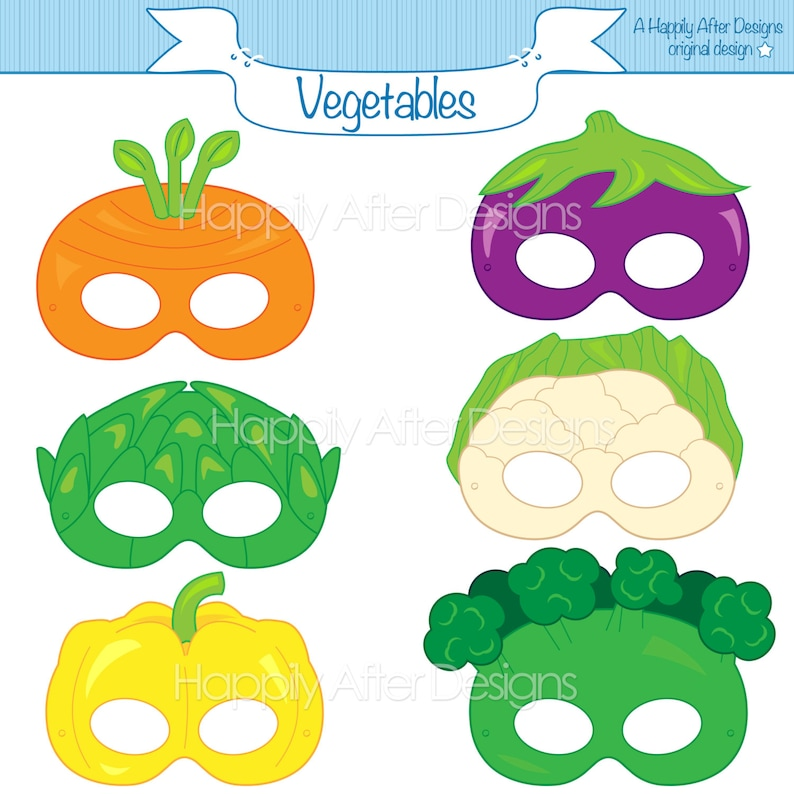 photo about Printable Vegetables named Vegetable Printable Masks, carrot mask, broccoli mask, artichoke, cauliflower, eggplant, veggie mask, veggies, pepper, printable mask