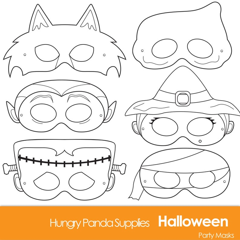 image about Printable Halloween Masks titled Halloween Masks, printable halloween dress, halloween gown, monster masks, witch mask, ghost mask, werewolf, vampire, mummy