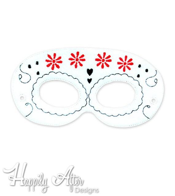 Dia de muertos diseño de bordado de 5 máscara máscara de | Etsy