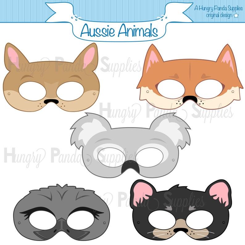 photo regarding Animal Masks Printable titled Australian Pets Printable Masks, aussie animal mask, koala mask, kangaroo mask, dingo mask, emu mask, tasmanian mask, outback animal mask