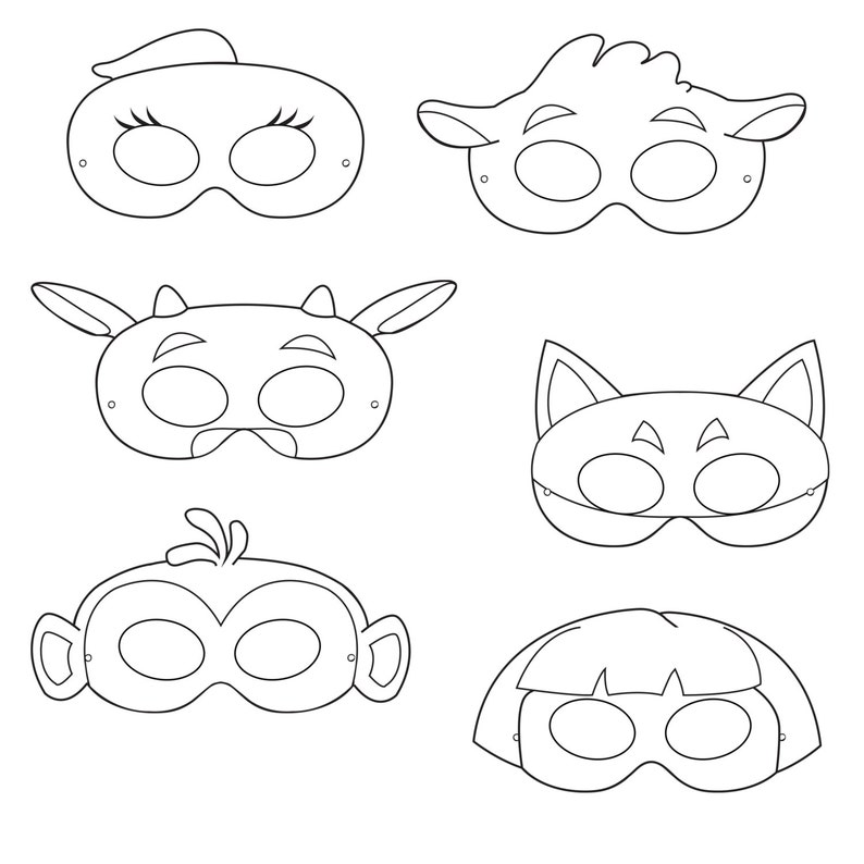 image relating to Printable Masks for Kids called Studying Printable Coloring Masks, printable masks, monkey mask, fox mask, women mask, adventures, cow, cartoon masks, young children masks, print