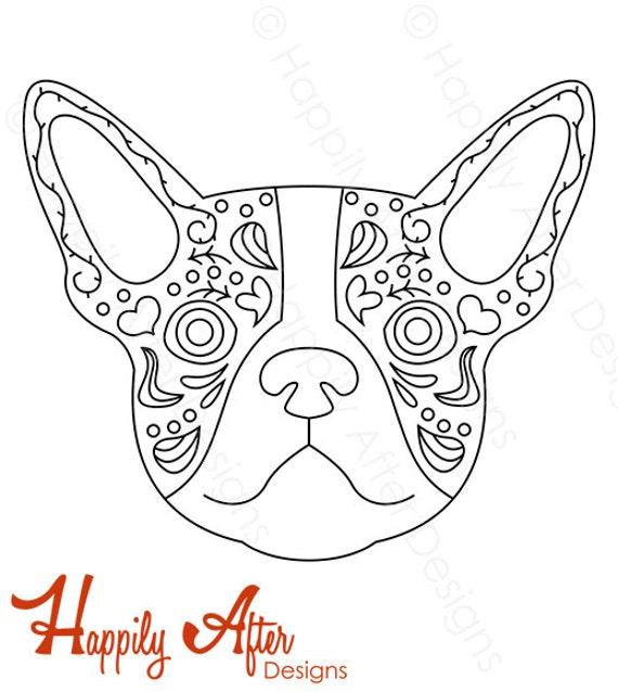 Boston Terrier Graffiti Hand Embroidery Pattern, dog pattern, dog, hand  embroidery, printable pattern, boston terrier embroidery, needlework
