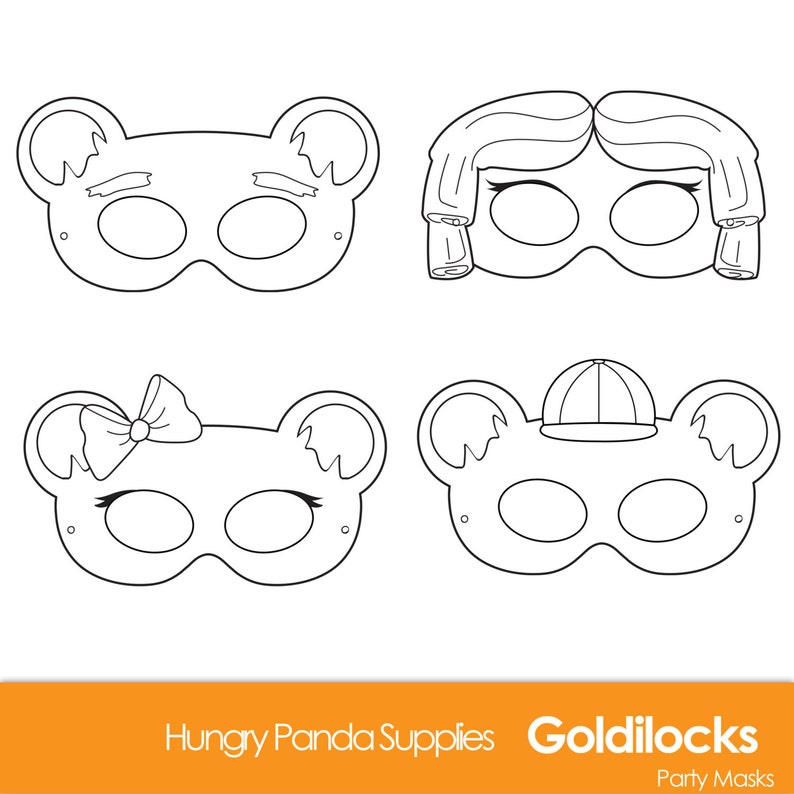 image about Printable Bear Mask known as Goldilocks And The A few Bears Printable Masks, Goldilocks dress, Goldie Locks, undertake mask, fairytale gown, halloween, goldilocks print