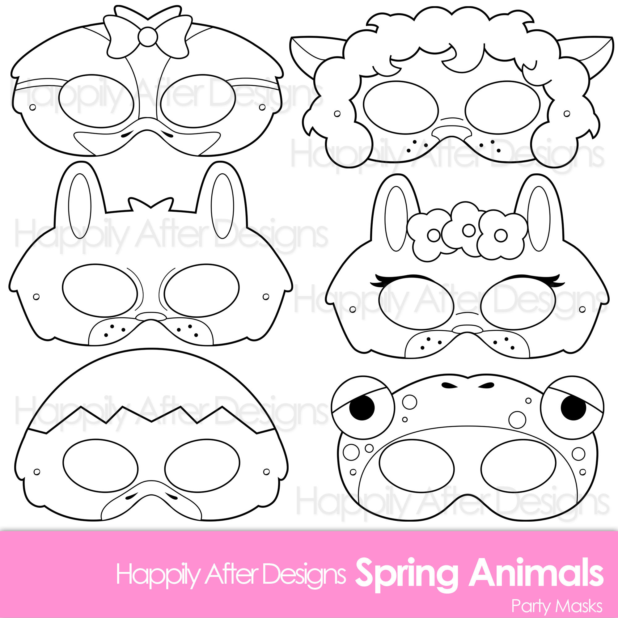 Spring Animals Printable Coloring Masks Bunny Mask Frog Etsy