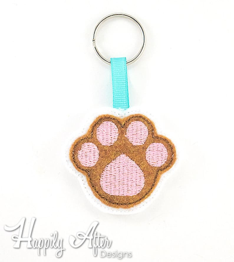 Paw Print Keychain Embroidery Design, dog keychain,paw embroidery, keychain  embroidery, machine embroidery, ITH, in the hoop, dog embroidery