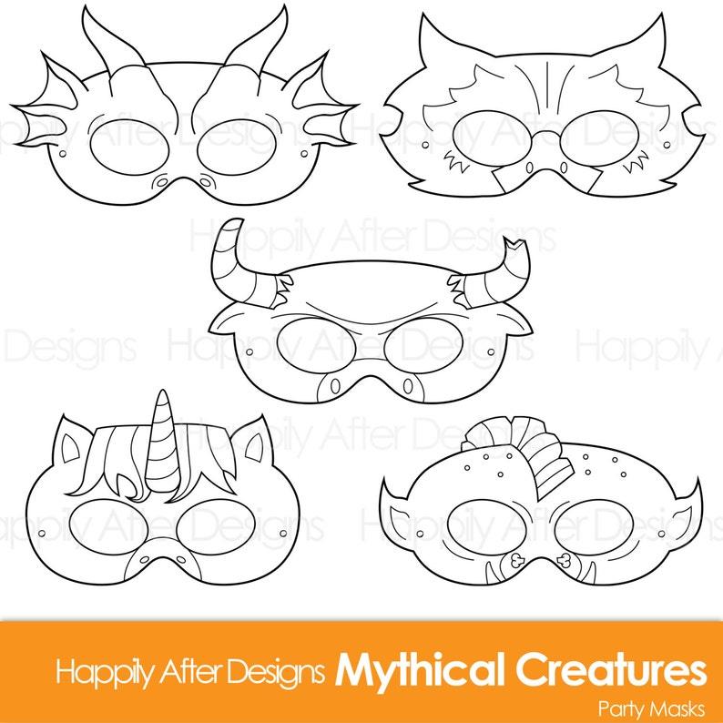 photo regarding Printable Dragon Mask named Legendary Creatures Printable Coloring Masks, dragon mask, unicorn, minotaur, troll, gryphon, creature gown, halloween, animal mask, print