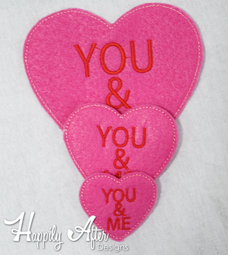 c6ec1a8256a39 Candy Hearts Feltie Embroidery Designs, valentines feltie, heart feltie,  valentine, machine embroidery, ITH, in the hoop, 4x4, candy heart