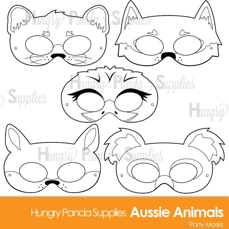 Australian Animals Printable Coloring Masks Aussie Animal Etsy