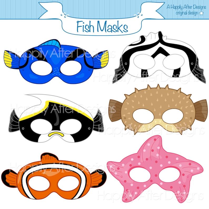 0b6eef627f98 Fish Printable Masks moorish idol starfish mask clownfish