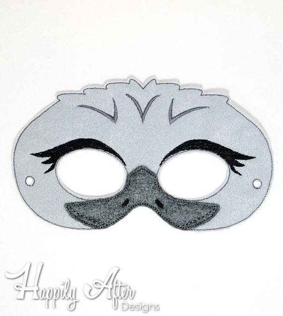 Bordado de UEM bordado diseño de máscara máscara avestruz | Etsy