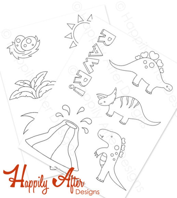 Dinosaurs Hand Embroidery Patterns Dino Pattern Dinosaurs Etsy