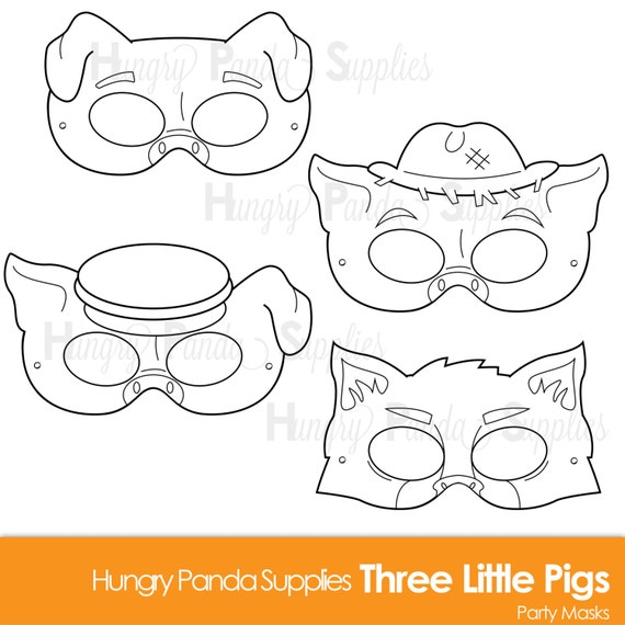 Three Little Pigs Printable Coloring Masks Three Little Pigs Etsy