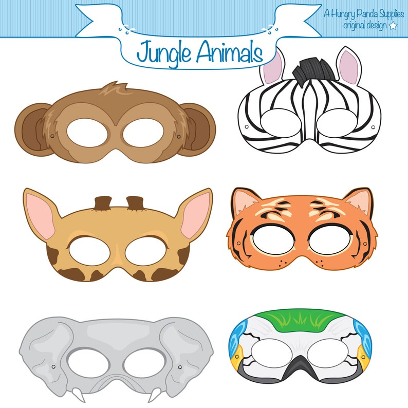 image relating to Printable Monkey Masks named Jungle Pets Printable Masks, monkey mask, zebra, tiger, elephant, parrot, giraffe, animal mask, jungle animal, safari, tiger dress,chicken
