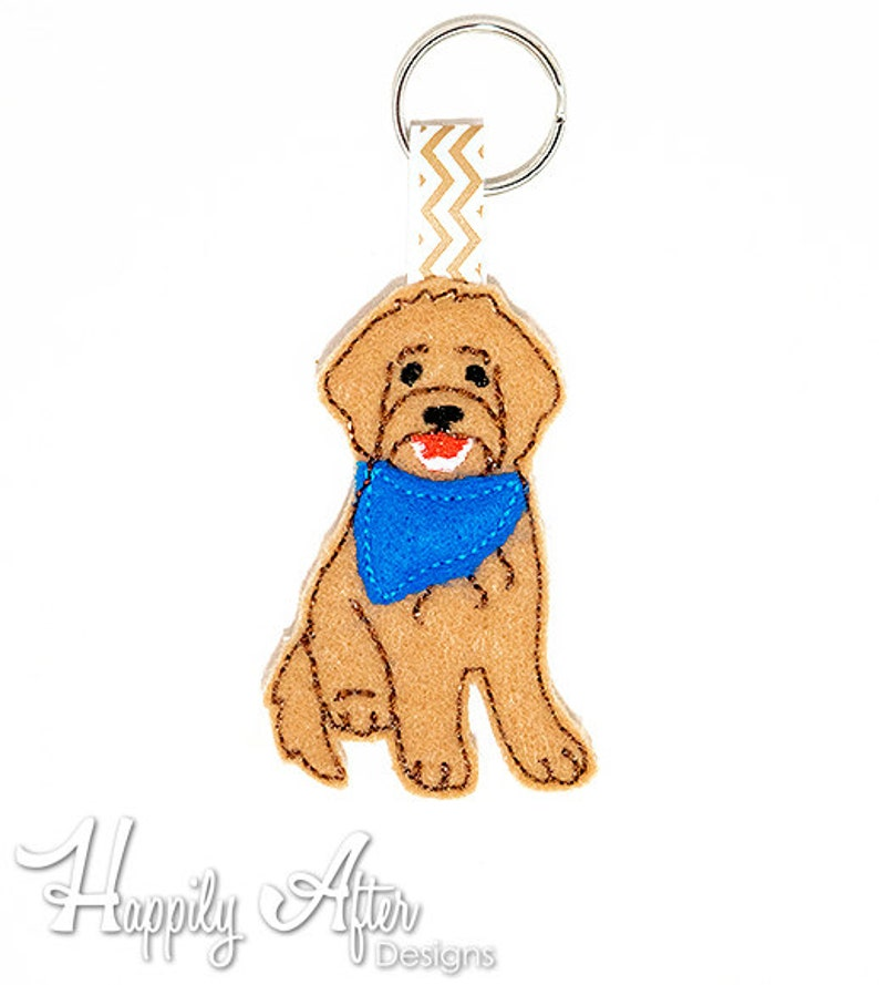 Goldendoodle Keychain Embroidery Design, dog keychain, dog embroidery,  keychain embroidery, machine embroidery, ITH, in the hoop, puppy