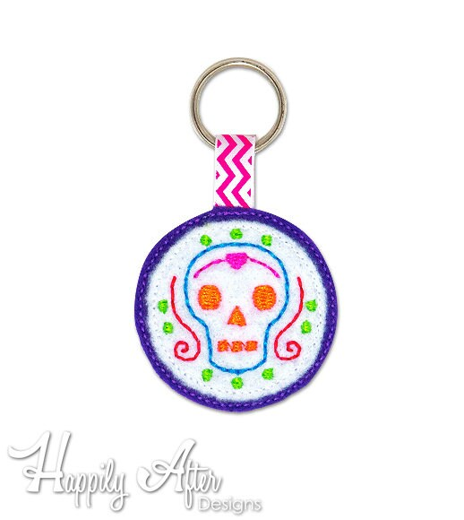Day of the Dead Skull Keychain Embroidery Design, Halloween, skull,  keychain embroidery, machine embroidery, ITH, in the hoop, day of dead