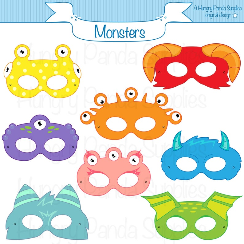 Halloween Masks For Kids.Monster Printable Masks Halloween Masks Monsters Monster Costume Monster Party Halloween Party Printable Masks Kids Mask Creatures
