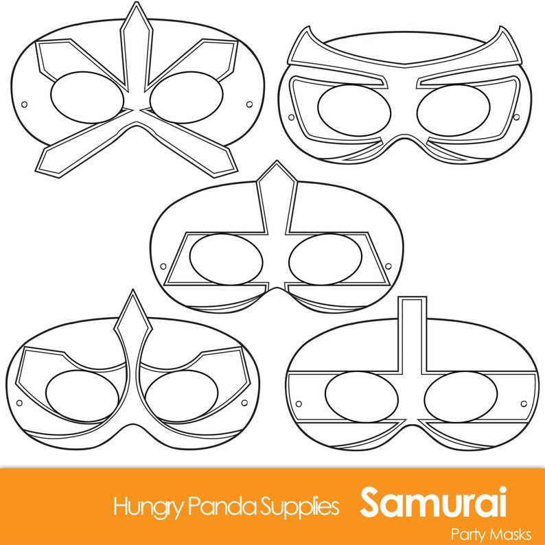 graphic relating to Superhero Masks Printable known as Samurai Printable Coloring Masks, Printable Mask, Paper Mask, occasion masks, boys get together, boys dress, boy bash masks, superhero masks, ninja