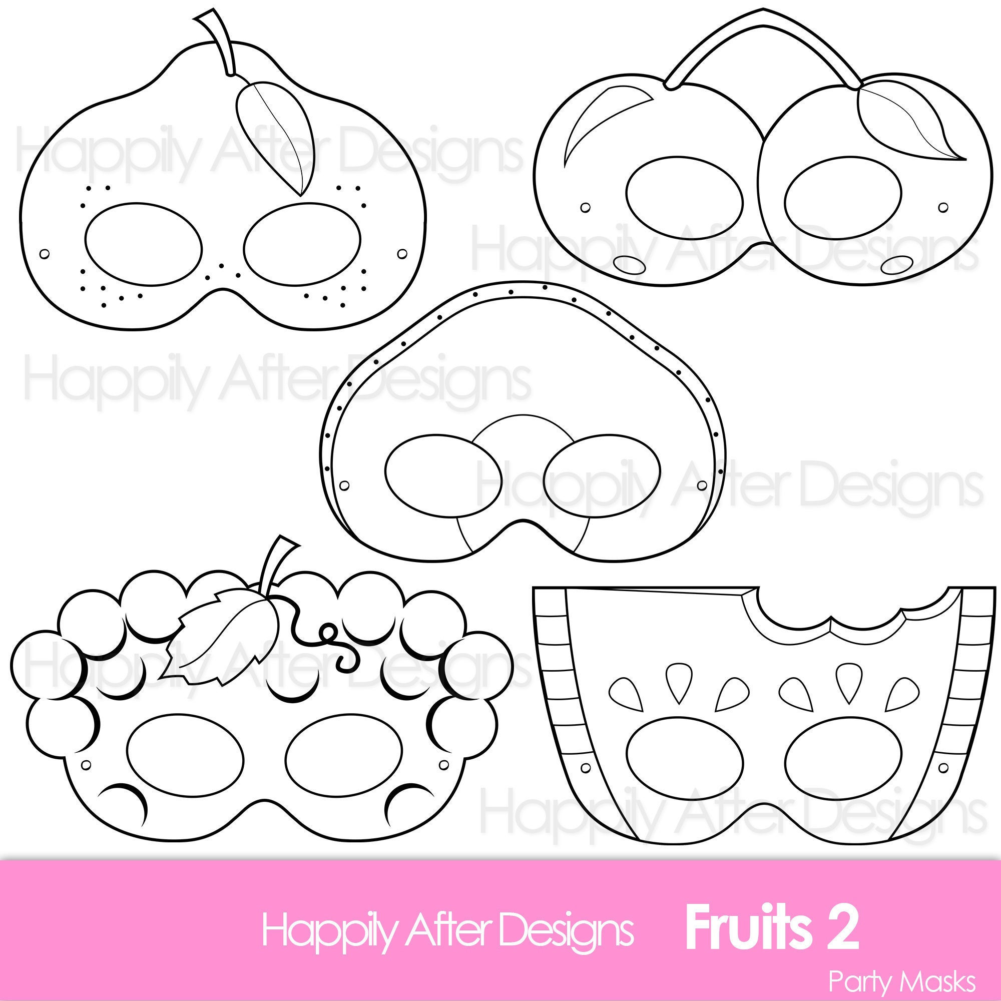 fruits 2 printable coloring masks avocado mask cherry mask etsy Parts of a Grape 50