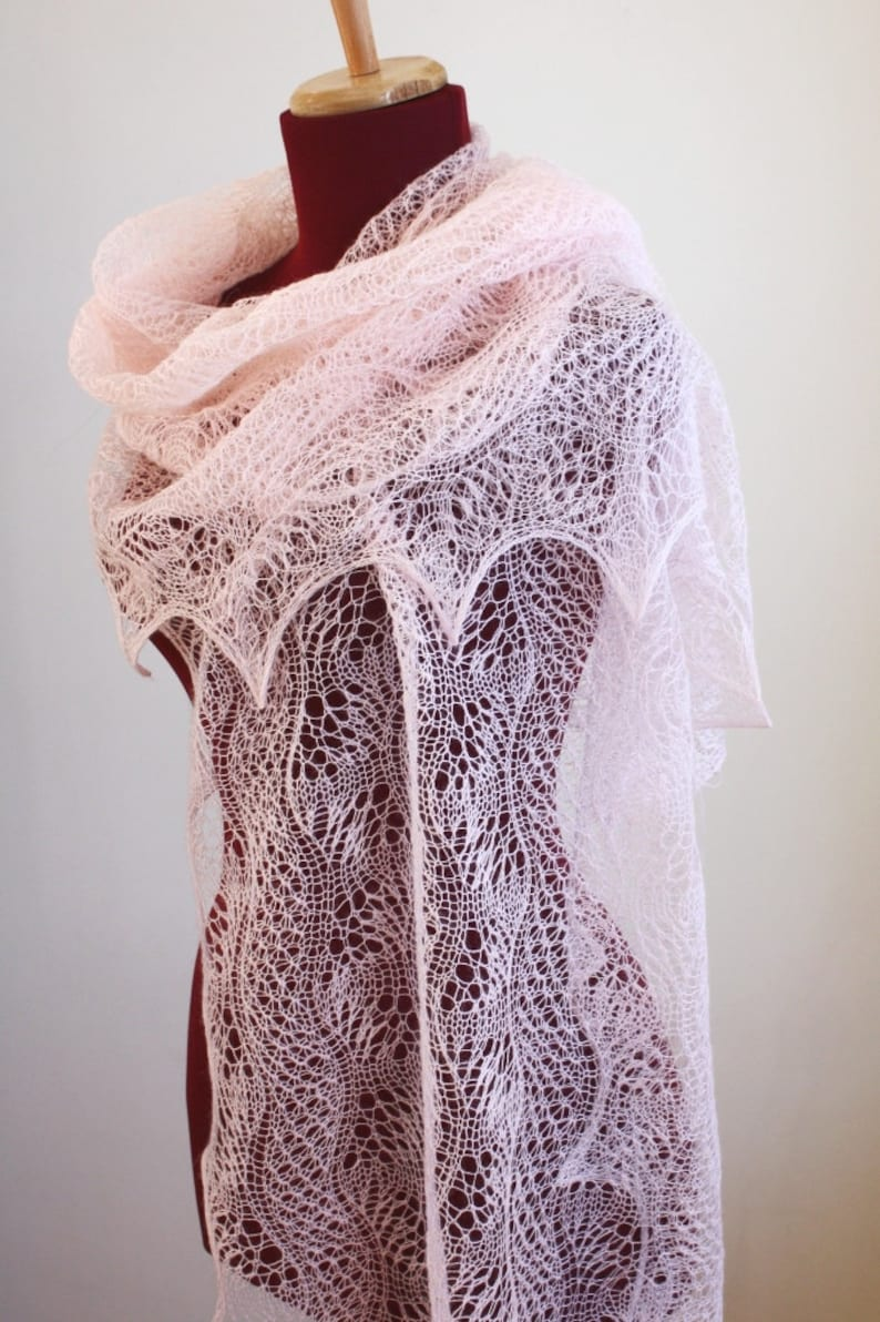 2928482f8 Knitted Lace Shawl Dunes and Waves Pattern PDF